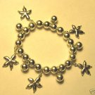 Starfish Charm Bracelet silver beaded