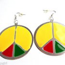 "2"" Round Metal Rasta Earrings Peace Sign"