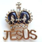 Religious Jesus Crown  2 in 1 Pendant / Pin Brooch Blue Gold