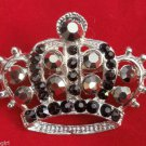 Princess Crown Pin Brooch Silver Black crystal Rhinestones Queen