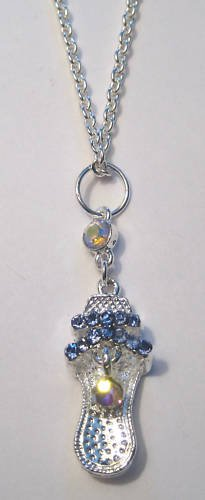 Silver High heel shoe Necklace blue crystal stones