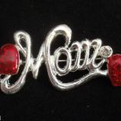 Mom Pin Brooch Silver Red Hearts Crystal stones