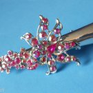 Claw Hair Salon Clip 5&quot; Pink rhinestone flower design