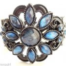 Blue Flower Gemstone Cuff Bracelet