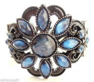 Blue Flower Gemstone Cuff Bracelet