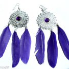 Purple Feather Earrings Silver with stone