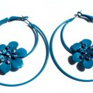 Blue Flower Metal Hoop Earrings