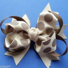 Polka Dot Print Bow Brown Tan Barrette hair clip