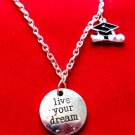 Graduation Necklace Live your Dream cap diploma