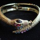 Gold Snake Gemstone Cuff Bracelet