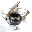 Silver Fish Bracelet Cuff Gray Glass Prism