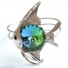Silver Fish Bracelet Cuff Rainbow Glass Prism