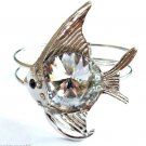 Silver Fish Bracelet Cuff Clear Glass Prism