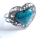 Teal Heart Bracelet Cuff Silver crystal stones