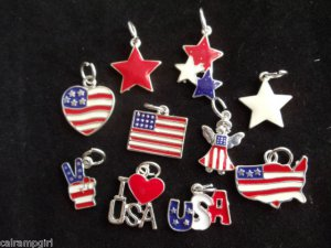 Lot 40 Assorted Patriotic Charms USA Flags Red White Blue stars