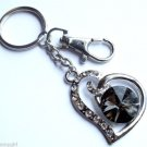 Gray Glass Heart Keychain Prism crystal stones Silver