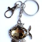Topaz Glass Fish Keychain Prism