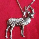 Silver Deer Necklace crystal stones Hunter Christmas reindeer