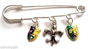 Mardi Gras Bar Pin Happy Sad Fleur de lis Charms