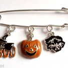 Haloween Bar Pin pumpkin bats witch Charms