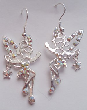 Shimmering Fairy Earrings silver crystal rhinestones