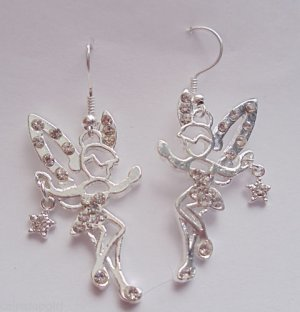 Clear Fairy Earrings silver crystal rhinestones