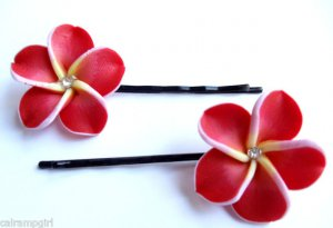 Red Frangipani Plumeria Flower Bobby Pins set of 2