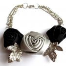Satin Roses flower Bracelet With Silver Leaves Black and Gray