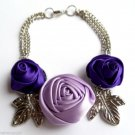Satin Roses flower Bracelet With Silver Leaves Lilac and Purple