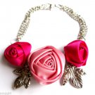 Satin Roses flower Bracelet With Silver Leaves Light Pink and Fuschia
