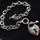 Silver Heart lock and key Charm Bracelet chain link Rainbow crystal stones