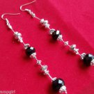 "4"" long Silver black crystal Earrings"