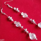 "4"" long Silver Clear crystal Earrings"