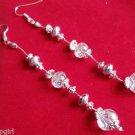 """4"""" long Silver Clear crystal Earrings"""