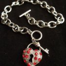 Silver Heart lock and key Charm Bracelet chain link Red crystal stones