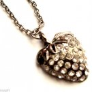 Antique Silver Strawberry Necklace Clear crystal rhinestones fruit