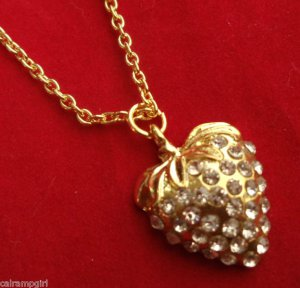 Gold Strawberry Necklace clear crystal rhinestones fruit