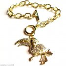 Clear stone Gold Tucan Bird Charm Bracelet