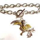 Yellow stone Silver Tucan Bird Charm Bracelet