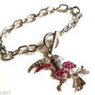 Pink stone Silver Tucan Bird Charm Bracelet