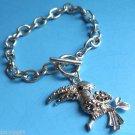 Gray stone Silver Tucan Bird Charm Bracelet
