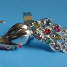 multi color Crystal Peacock Cocktail Ring adjustable