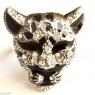 Leopard Cocktail Ring adjustable band Silver Clear crystal stones