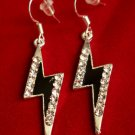 Black Lightning Bolt Earrings silver crystal rhinestones