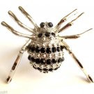 Large Silver Crystal Spider Cocktail Ring adjustable band Black stones