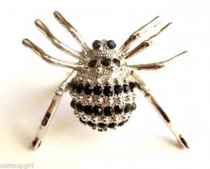 Large Silver Crystal Spider Cocktail Ring adjustable band Black stones