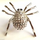Large Silver Crystal Spider Cocktail Ring adjustable band