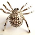 Large Silver Crystal Spider Cocktail Ring adjustable band Gray stones
