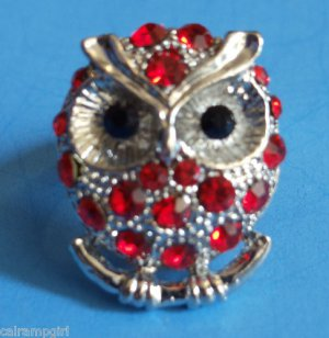 Owl silver cocktail Ring adjustable band Red Stones