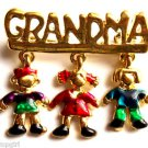 Grandma Pin Dangle Charms Gold enamel